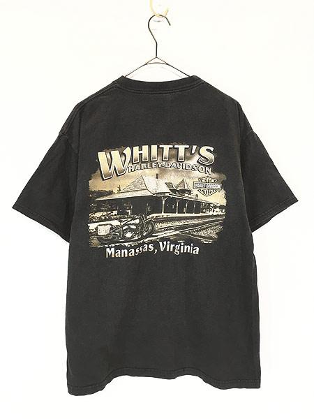 [2] 古着 00s USA製 HARLEY DAVIDSON 「WHITT'S」 エンブレム モーター Tシャツ L 古着