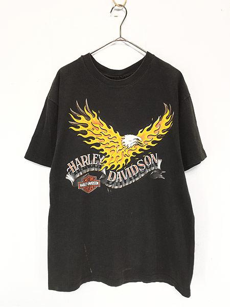 [1] 古着 90s USA製 HARLEY DAVIDSON ファイヤー イーグル モーター Tシャツ L 古着