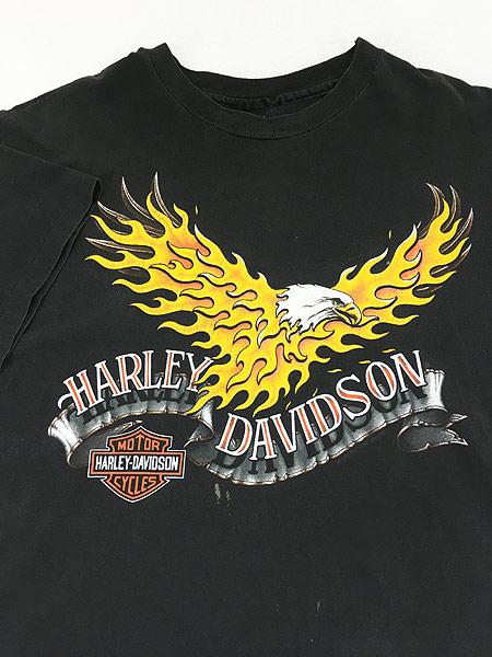 [3] 古着 90s USA製 HARLEY DAVIDSON ファイヤー イーグル モーター Tシャツ L 古着