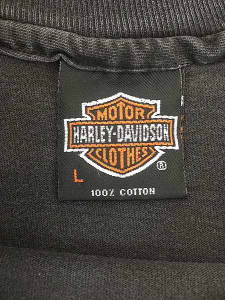 [5] 古着 90s USA製 HARLEY DAVIDSON ファイヤー イーグル モーター Tシャツ L 古着