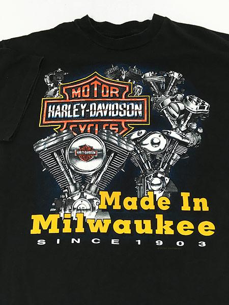 [3] 古着 90s USA製 HARLEY DAVIDSON 歴代 エンジン モーター Tシャツ L 古着