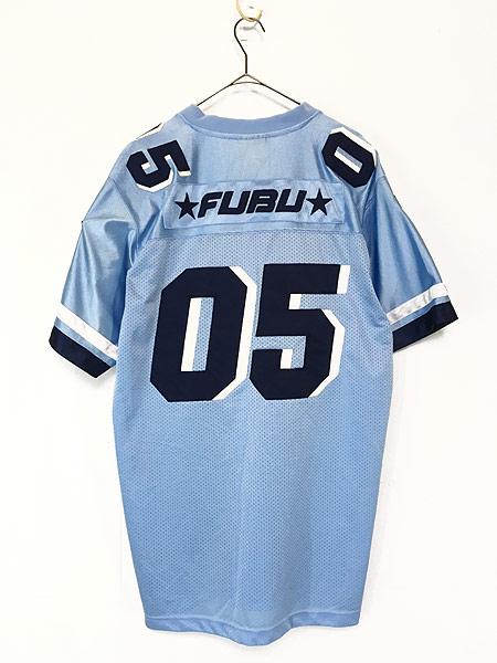[2] 古着 90s FUBU 光沢 ナンバリング メッシュ フットボール Tシャツ XL位 古着
