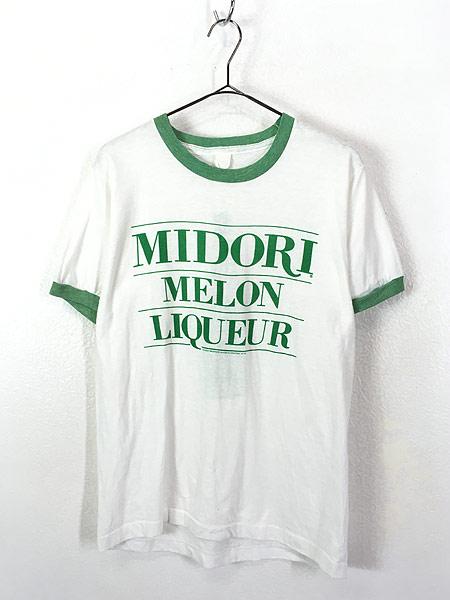 [1] 古着 80s MIDORI MELON リキュール 染み込み オールド リンガー Tシャツ L位 古着