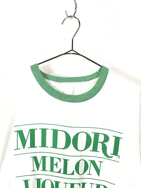 [2] 古着 80s MIDORI MELON リキュール 染み込み オールド リンガー Tシャツ L位 古着