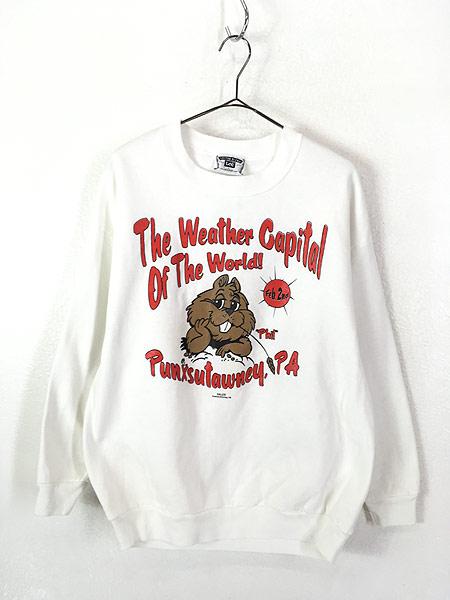 [1] 古着 90s USA製 「The Weather Capital」 ビーバー アニマル スウェット L 古着