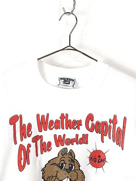 [2] 古着 90s USA製 「The Weather Capital」 ビーバー アニマル スウェット L 古着