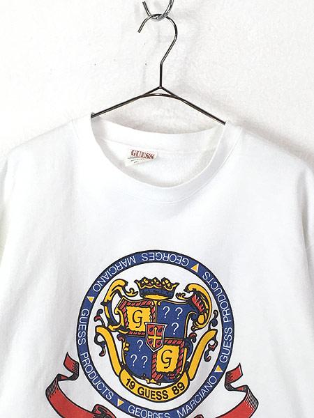 [2] 古着 80s USA製 GUESS BIG サークル エンブレム スウェット カットソー L 古着
