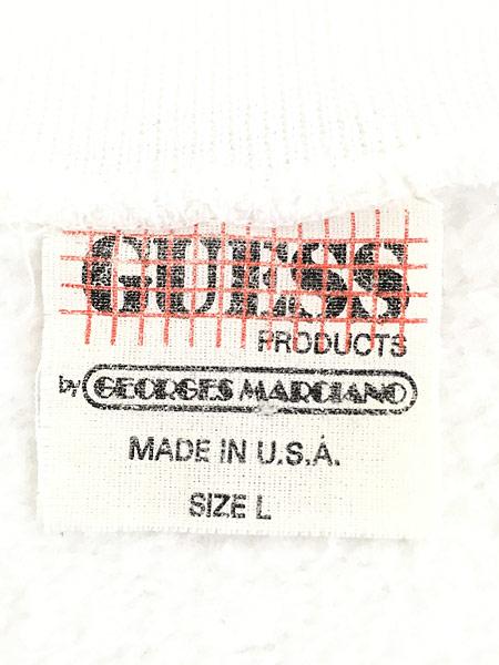 [8] 古着 80s USA製 GUESS BIG サークル エンブレム スウェット カットソー L 古着