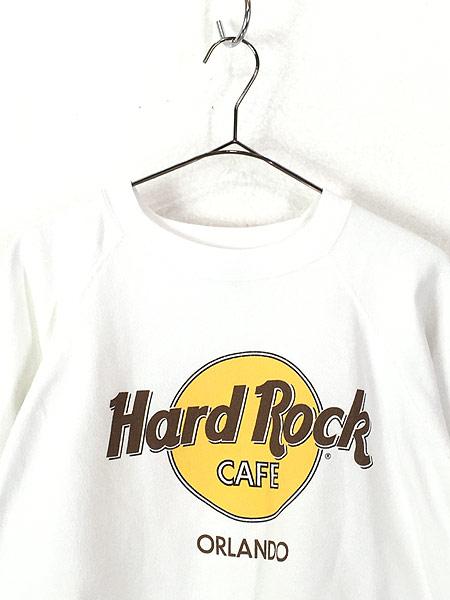 [2] 古着 90s USA製 Hard Rock Cafe 「ORLAND」 BIGロゴ ハードロック スウェット XL 古着