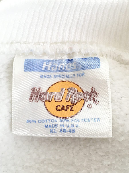 [5] 古着 90s USA製 Hard Rock Cafe 「ORLAND」 BIGロゴ ハードロック スウェット XL 古着