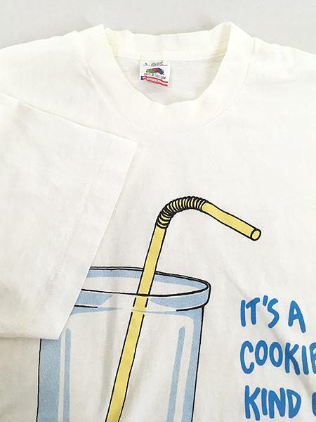 [4] 古着 90s USA製 「IT'S A COOKIE KIND OF DAY」 ネズミ クッキー Tシャツ L 古着