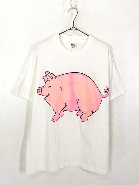 [1] 古着 90s USA製 ブタ ピッグ アニマル BIG Tシャツ XL 古着