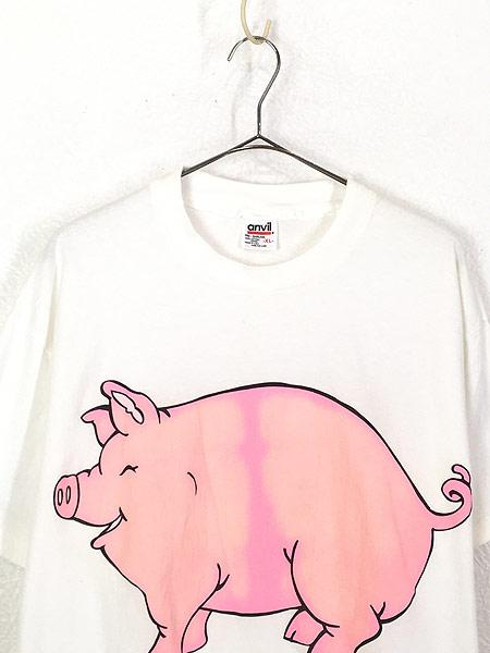 [2] 古着 90s USA製 ブタ ピッグ アニマル BIG Tシャツ XL 古着