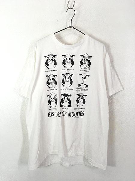 [1] 古着 90s USA製 「HISTORY OF MOOVIES」 牛 ムービー アート Tシャツ XL 古着