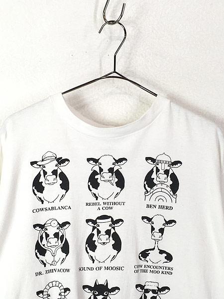 [2] 古着 90s USA製 「HISTORY OF MOOVIES」 牛 ムービー アート Tシャツ XL 古着