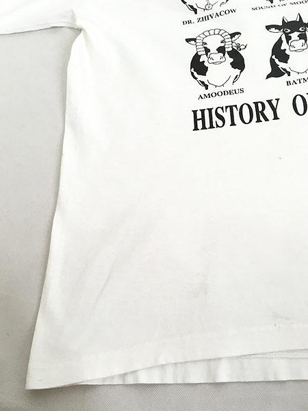 [5] 古着 90s USA製 「HISTORY OF MOOVIES」 牛 ムービー アート Tシャツ XL 古着