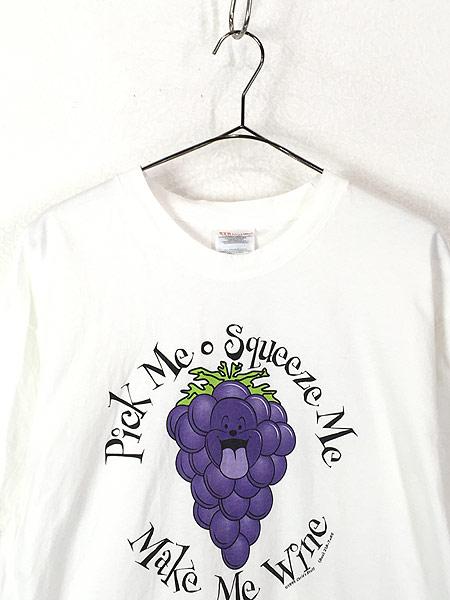 [2] 古着 90s USA製 「Make Me Wine」 ブドウ グレープ アート Tシャツ L 古着