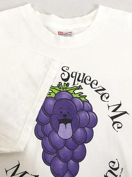 [4] 古着 90s USA製 「Make Me Wine」 ブドウ グレープ アート Tシャツ L 古着