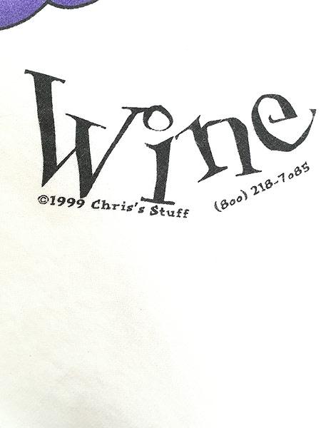 [6] 古着 90s USA製 「Make Me Wine」 ブドウ グレープ アート Tシャツ L 古着