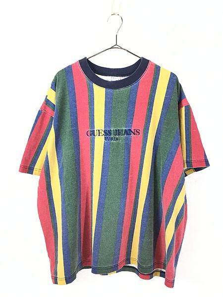 [1] 古着 90s USA製 GUESS JEANS 刺しゅう マルチ ストライプ Tシャツ XL 古着