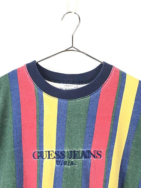 [2] 古着 90s USA製 GUESS JEANS 刺しゅう マルチ ストライプ Tシャツ XL 古着