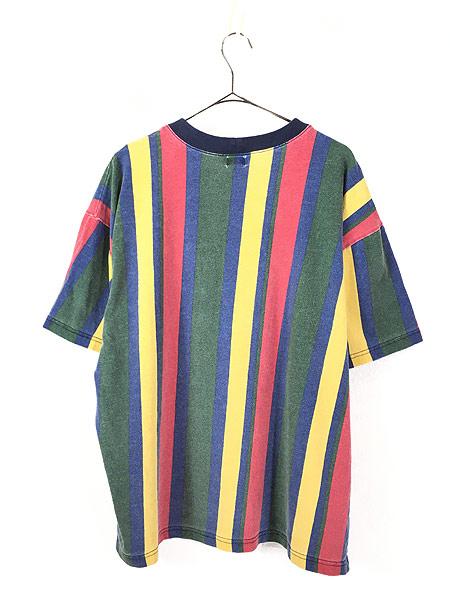 [3] 古着 90s USA製 GUESS JEANS 刺しゅう マルチ ストライプ Tシャツ XL 古着