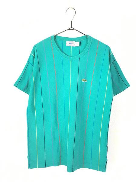[1] 古着 80s USA製 IZOD LACOSTE ワンポイント ストライプ カノコ Tシャツ M 古着
