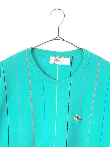 [2] 古着 80s USA製 IZOD LACOSTE ワンポイント ストライプ カノコ Tシャツ M 古着