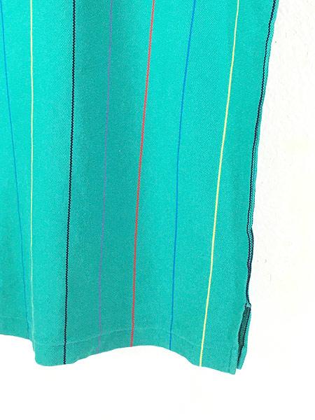 [3] 古着 80s USA製 IZOD LACOSTE ワンポイント ストライプ カノコ Tシャツ M 古着