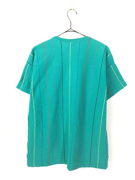 [4] 古着 80s USA製 IZOD LACOSTE ワンポイント ストライプ カノコ Tシャツ M 古着