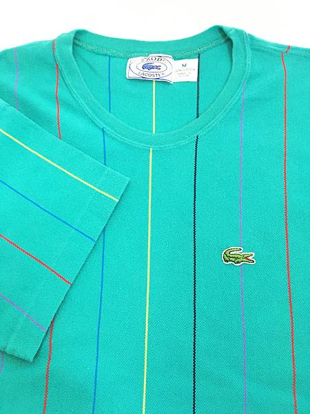 [5] 古着 80s USA製 IZOD LACOSTE ワンポイント ストライプ カノコ Tシャツ M 古着