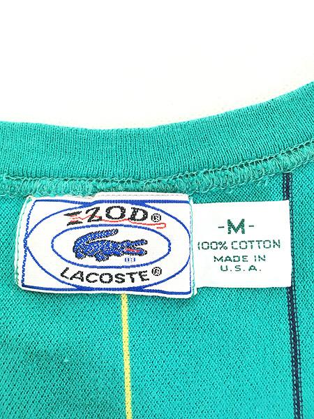 [6] 古着 80s USA製 IZOD LACOSTE ワンポイント ストライプ カノコ Tシャツ M 古着