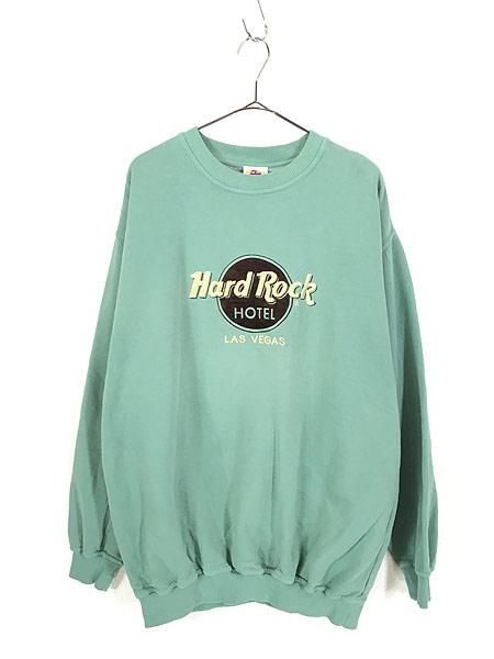 [1] 古着 90s USA製 Hard Rock Hotel フロッキー BIGロゴ ハードロック スウェット XL位 古着