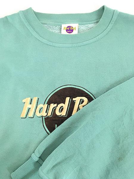 [7] 古着 90s USA製 Hard Rock Hotel フロッキー BIGロゴ ハードロック スウェット XL位 古着