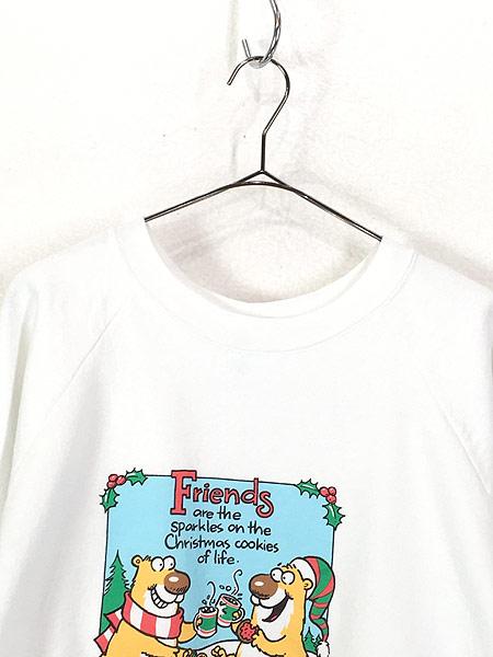[2] 古着 90s USA製 「Friends」 ビーバー ポップ アート スウェット トレーナー XL 古着