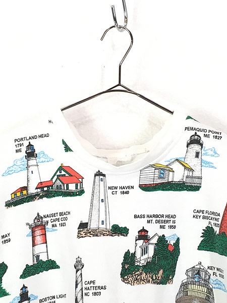 [2] 古着 90s カラフル 灯台 マルチ オールド スウェット トレーナー ポケット付 XL位 古着