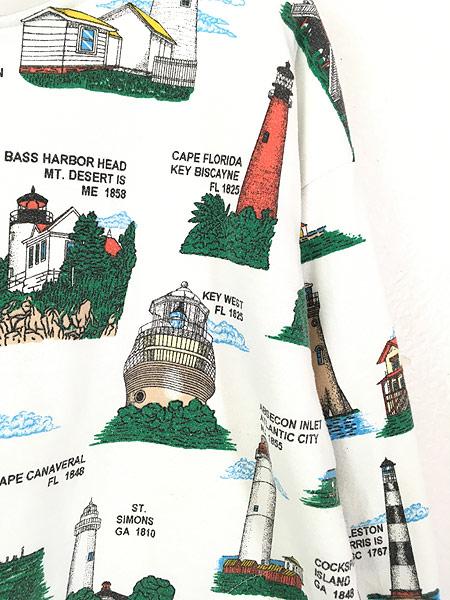 [3] 古着 90s カラフル 灯台 マルチ オールド スウェット トレーナー ポケット付 XL位 古着