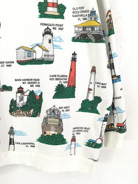 [5] 古着 90s カラフル 灯台 マルチ オールド スウェット トレーナー ポケット付 XL位 古着
