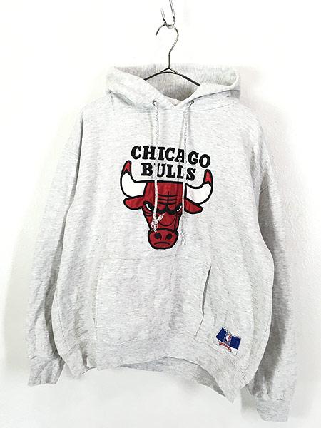 [1] 古着 90s USA製 NBA CHICAGO BULLS ブルズ パッチ スウェット パーカー L位 古着