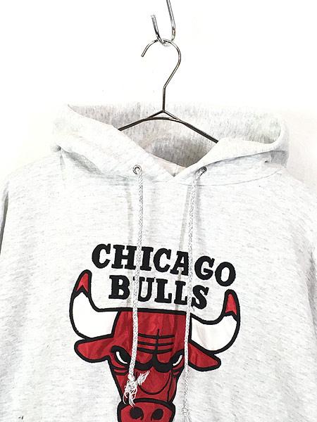 [2] 古着 90s USA製 NBA CHICAGO BULLS ブルズ パッチ スウェット パーカー L位 古着