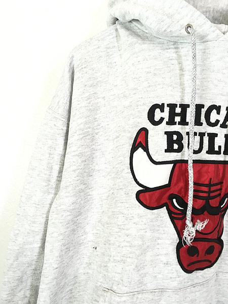 [3] 古着 90s USA製 NBA CHICAGO BULLS ブルズ パッチ スウェット パーカー L位 古着