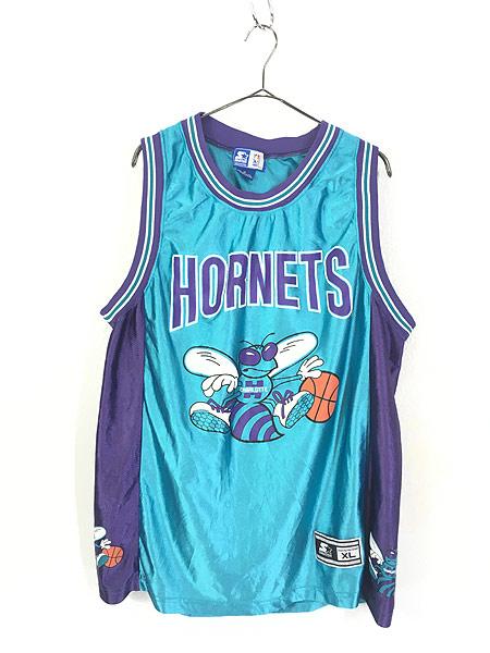 [1] 古着 90s CHARLOTTE HORNETS No 41 「RICE ライス」 NBA 光沢 タンクトップ XL 古着