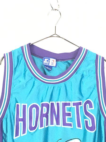 [2] 古着 90s CHARLOTTE HORNETS No 41 「RICE ライス」 NBA 光沢 タンクトップ XL 古着