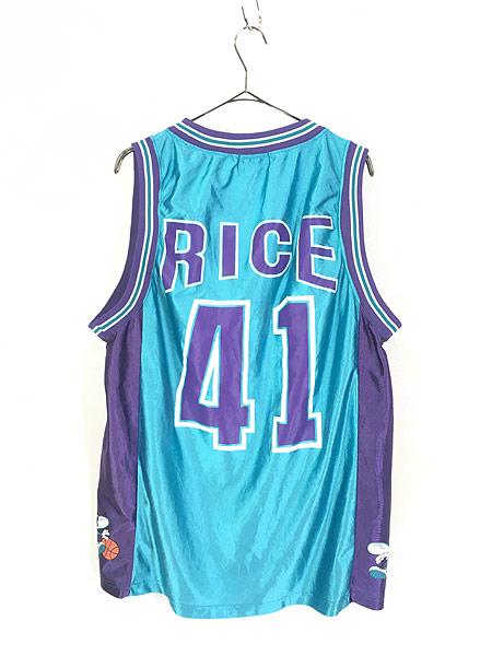 [3] 古着 90s CHARLOTTE HORNETS No 41 「RICE ライス」 NBA 光沢 タンクトップ XL 古着