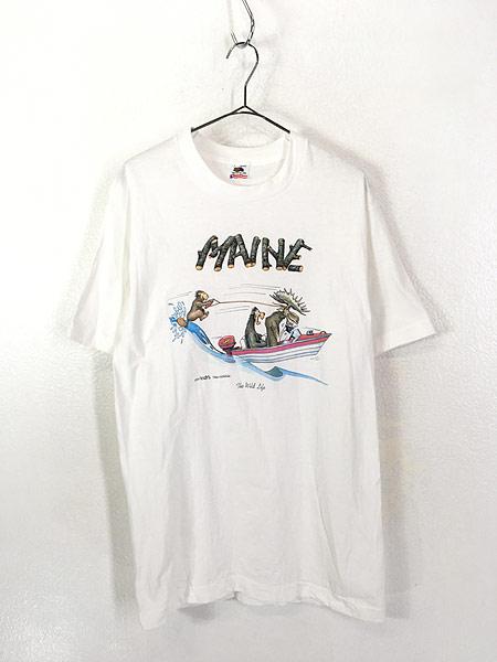[1] 古着 90s USA製 「MAINE」 アニマル ボート ポップ アート Tシャツ L 古着