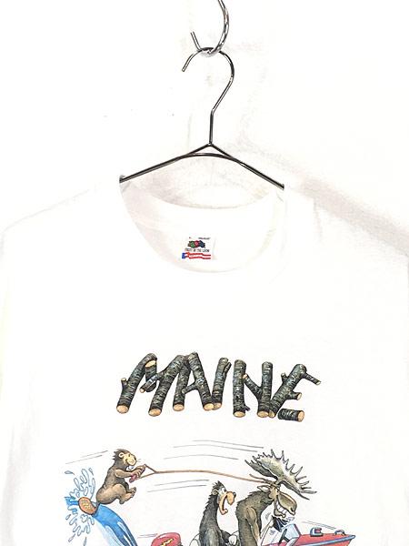 [2] 古着 90s USA製 「MAINE」 アニマル ボート ポップ アート Tシャツ L 古着
