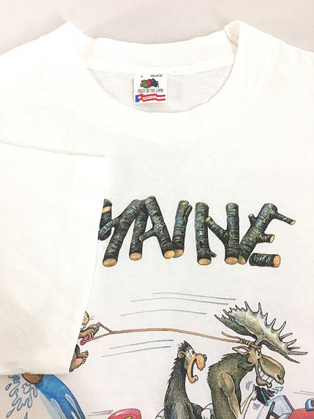 [4] 古着 90s USA製 「MAINE」 アニマル ボート ポップ アート Tシャツ L 古着