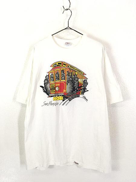[1] 古着 90s USA製 Crazy Shirts Hawaii ケーブルカー クリバンキャット Tシャツ XL 古着