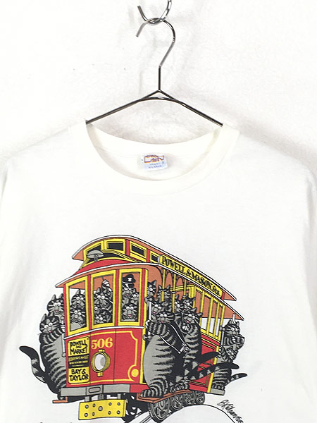 [2] 古着 90s USA製 Crazy Shirts Hawaii ケーブルカー クリバンキャット Tシャツ XL 古着