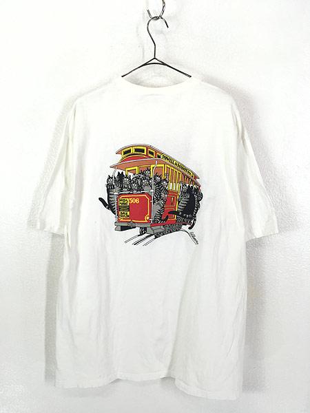 [3] 古着 90s USA製 Crazy Shirts Hawaii ケーブルカー クリバンキャット Tシャツ XL 古着